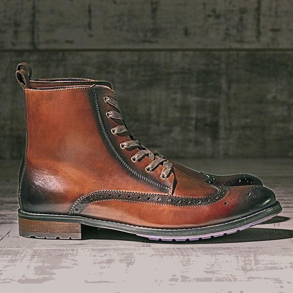 Burnished Tan Italian Leather Brogue Boot - Stearman 4