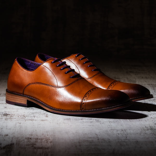 Fine Tan Italian leather Oxford with burnished detailing - Bristol 2