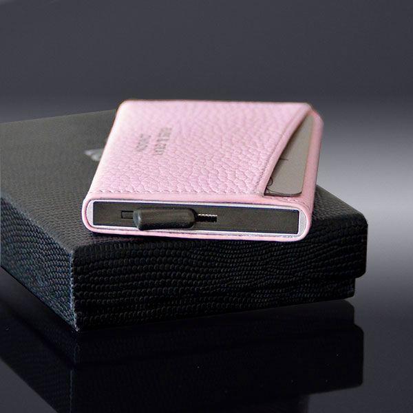 RFID POP-UP CARD CASE IN ITALIAN LEATHER SOFT PINK2