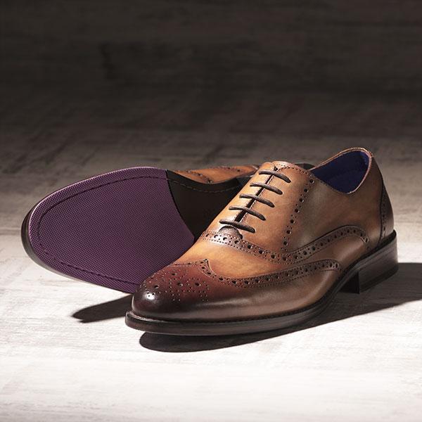 Fine Italian leather Brogue in burnished Tobacco - Lincoln 4