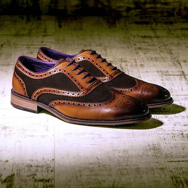 Burnished Tan Leather and brown Suede Brogue - Wellesley 3