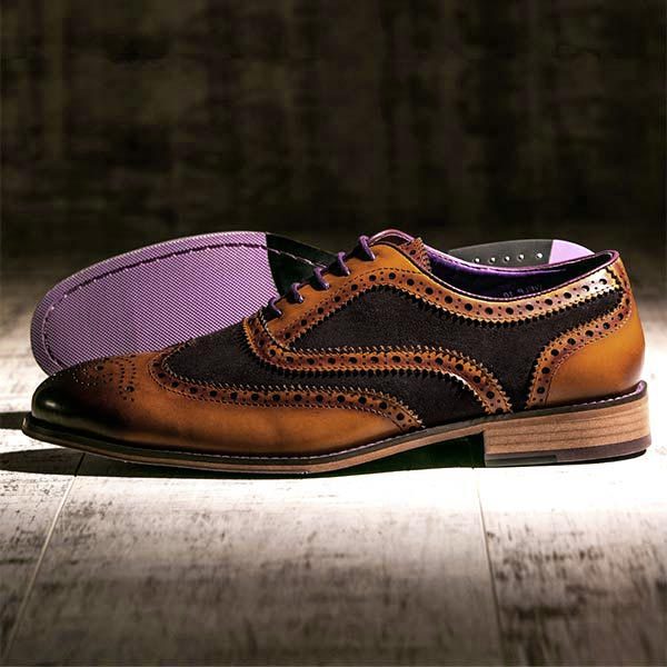 Burnished Tan Leather and brown Suede Brogue - Wellesley 4