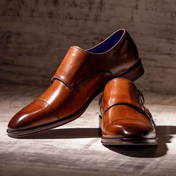 Tan leather monkstrap with burnished toecap - Batwing 3