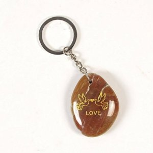 Inspirational Stone Keychain with Dove – Love