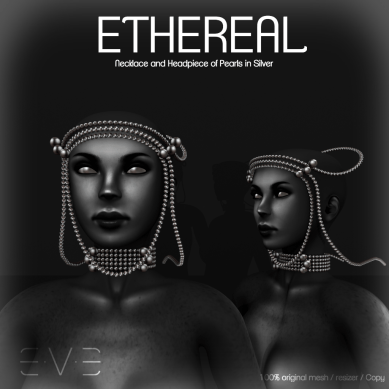 E.V.E ETHEREAL Necklace and Headpiece of Pearls Silver