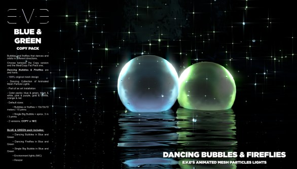 E.V.E {V} Dancing Bubbles and Fireflies {Blue and Green Pack}