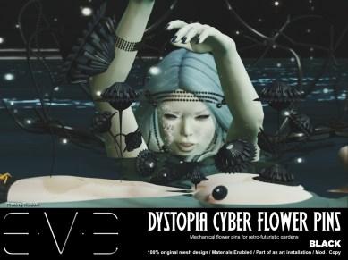 E.V.E {V} Dystopia Cyber Flower Pins Black
