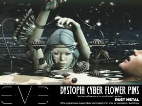 E.V.E {V} Dystopia Cyber Flower Pins Rust Metal