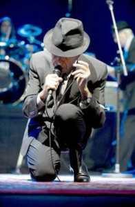 Photo of Leonard Cohen in concert