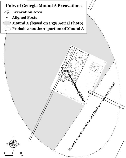 Figure 4. Maps of UGA Excavations within Mound A. Left: Plan Map showing location of line of posts. Right: Map of features encountered during the excavation. Note that radiocarbon dates were acquired for samples from three of these features, ranging from circa 200-600 A.D.