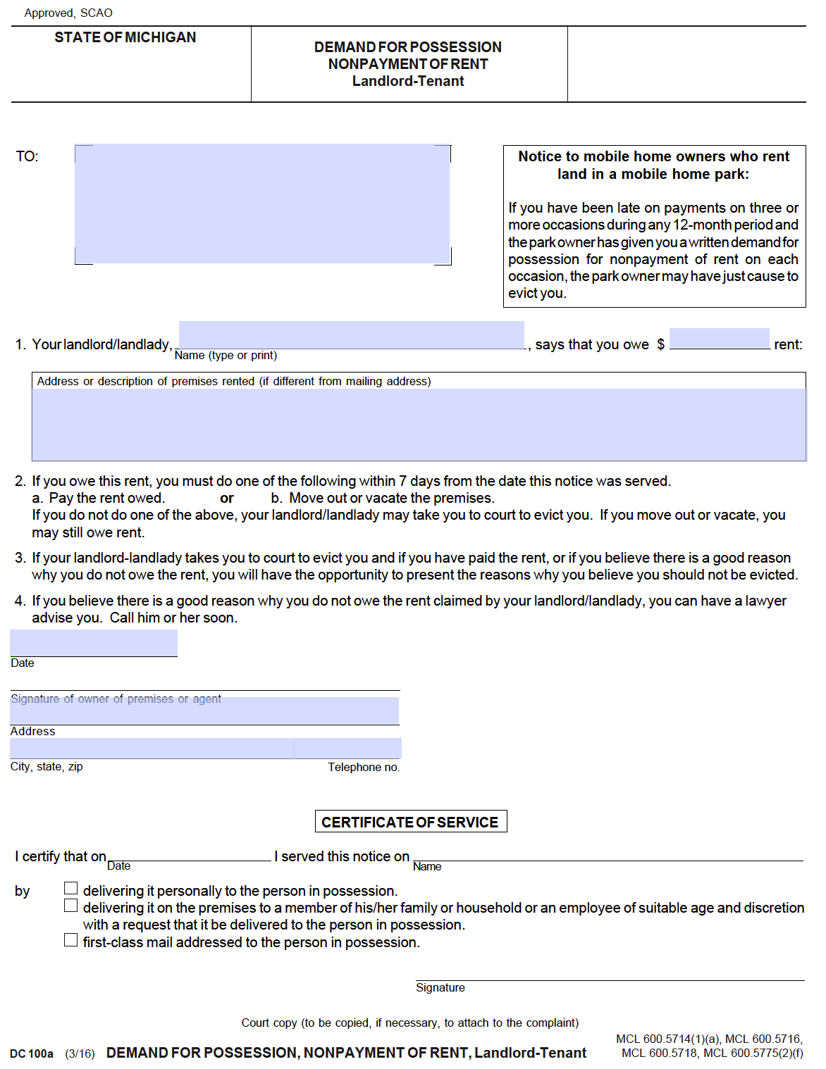 Free Michigan 7 Day Notice To Pay Or Quit PDF