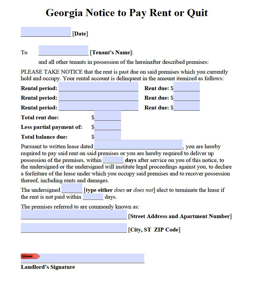 Free Georgia Notice To Pay Or Quit PDF