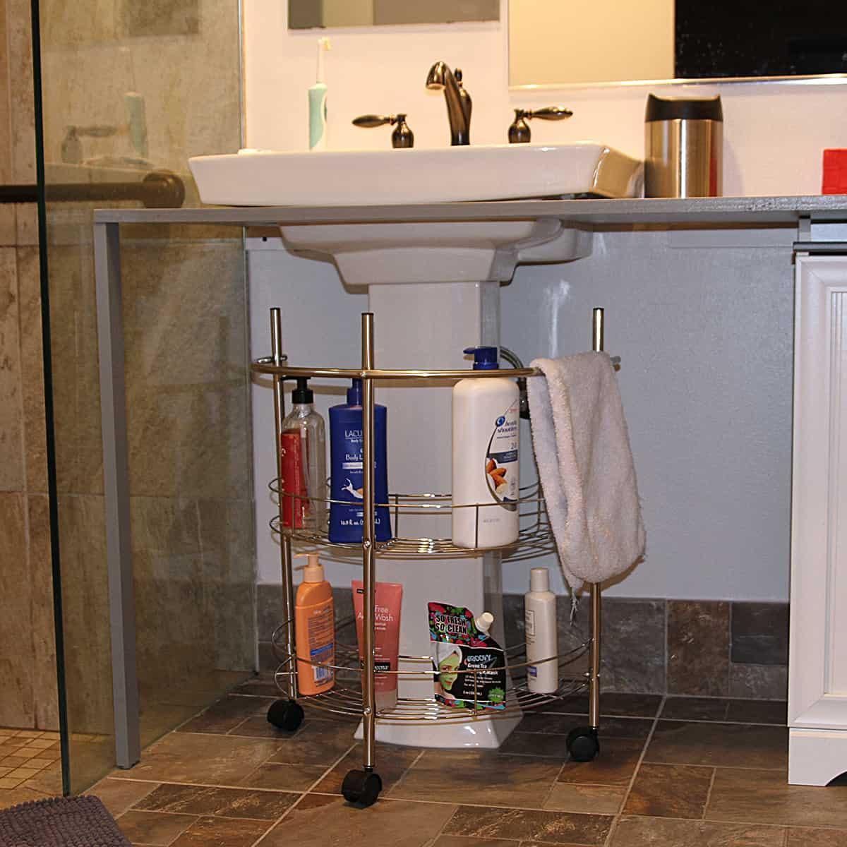 rolling pedestal under sink organizer metal chrome evideco