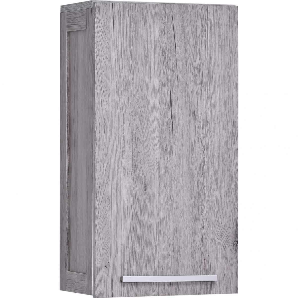 Wall Mounted Bath Cabinet Oslo 1 Door 1 Shelf Washed Gray Oak