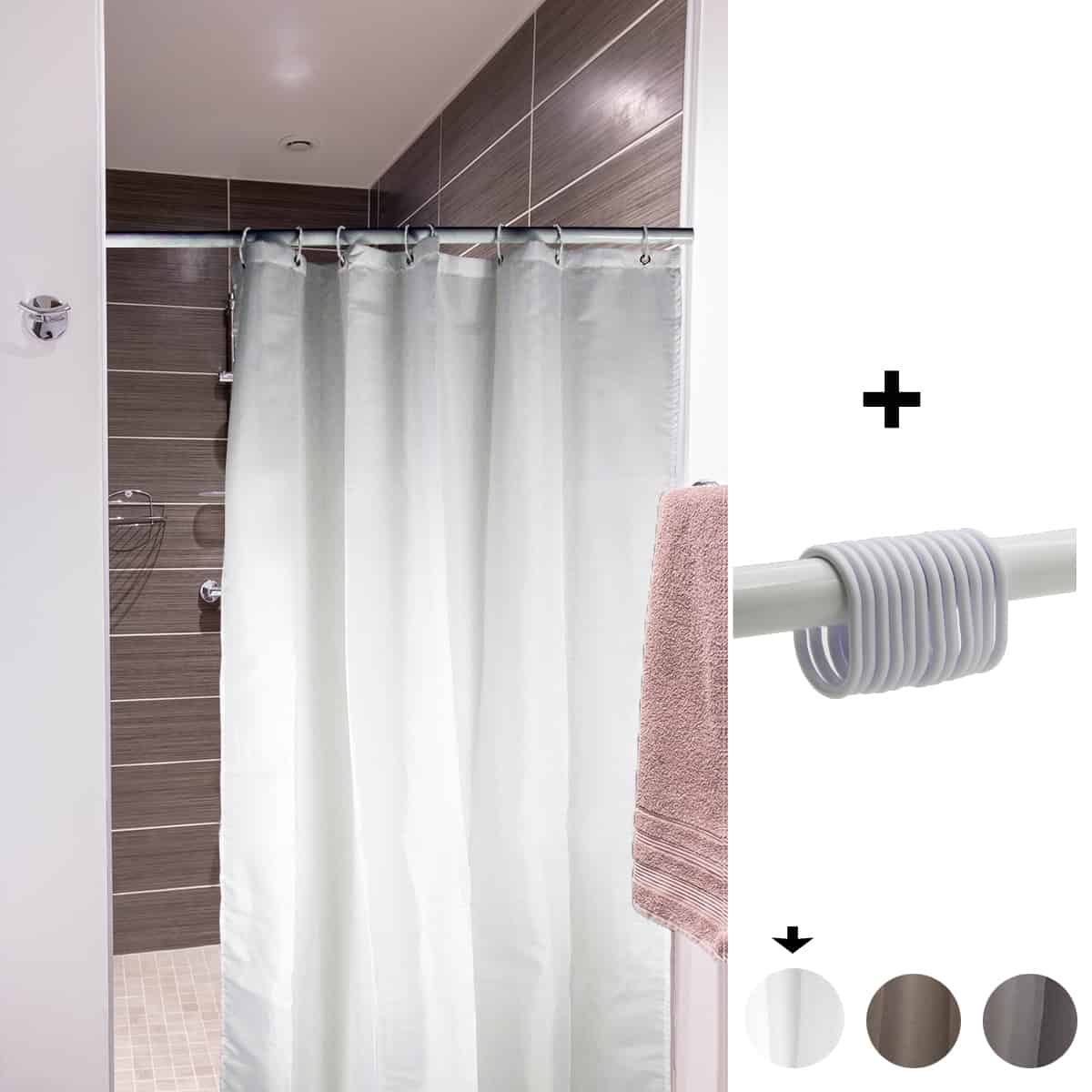 mildew resistant small stall shower curtain liner narrow size 48 w x 72 h inch 8 matching rings