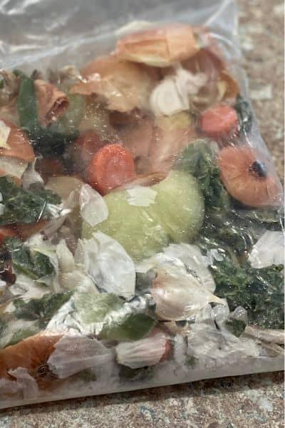 Veggie scraps for vegetable stock