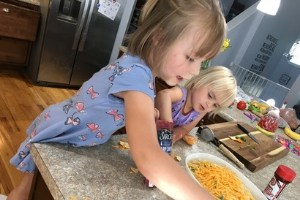 kids helping with meal prep