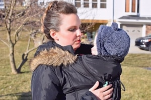 baby wearing with Modern Eternity coat