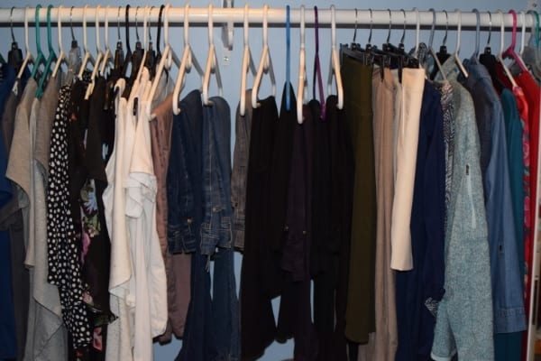 closet organized by color