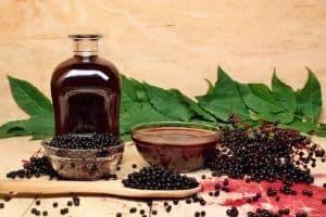 Elderberries and syrup