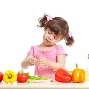 little girl with nutrious foods