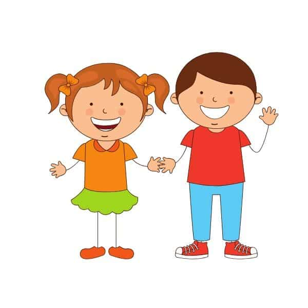 boy and girl smiling and waving