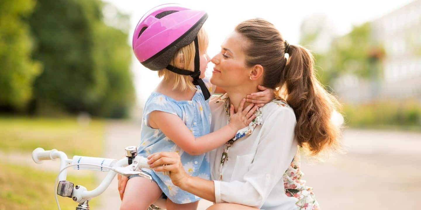 mom and daughter bicycle