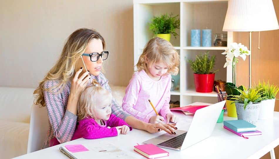 mom working with kids