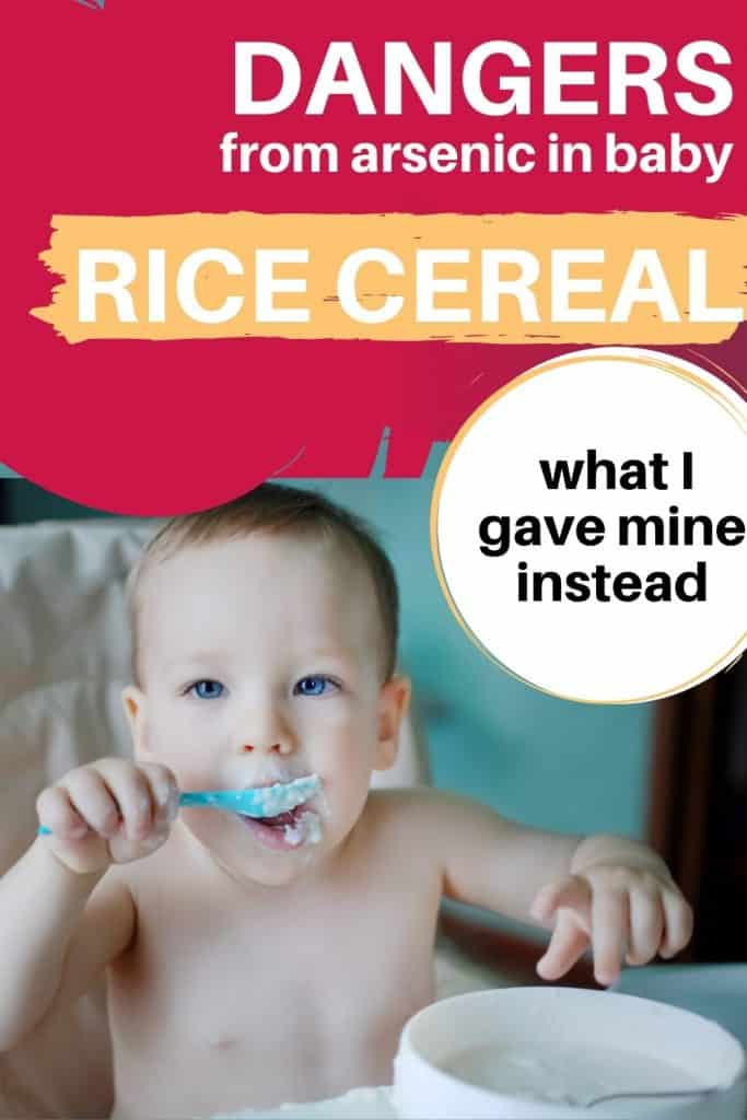 baby eating rice cereal and pin about dangers from arsenic