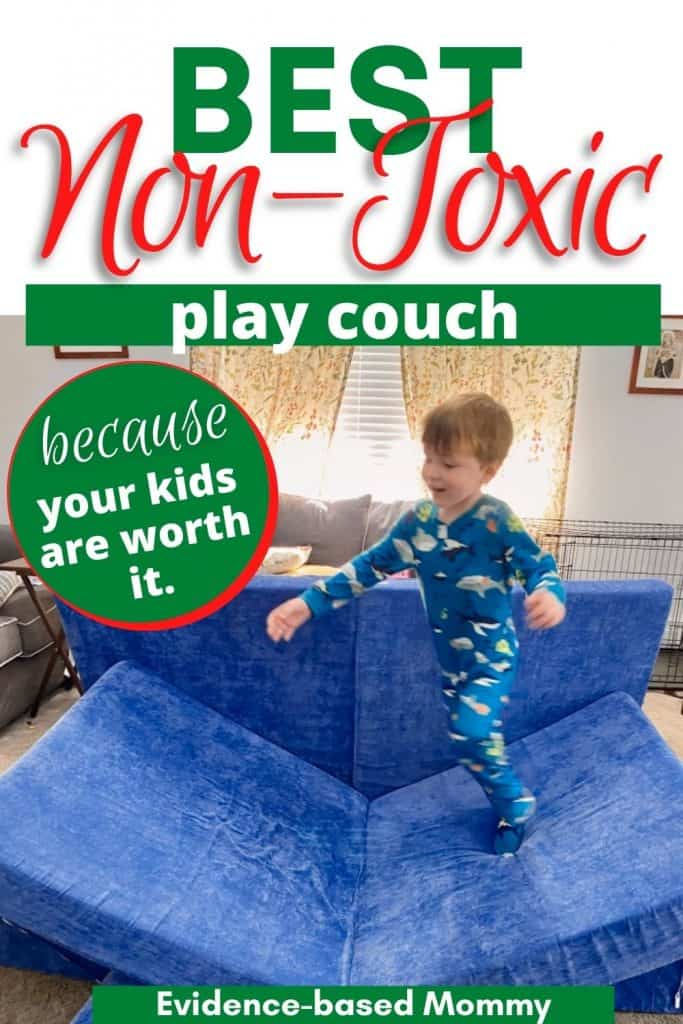 Pin showing Brentwood Home play couch as a Nugget alternative. Little boy is jumping from one end of the couch to another