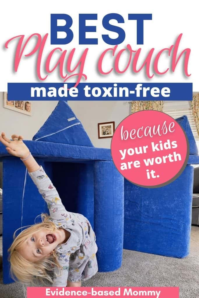 Pin with little girl in front of Brentwood Home non-toxic play couch