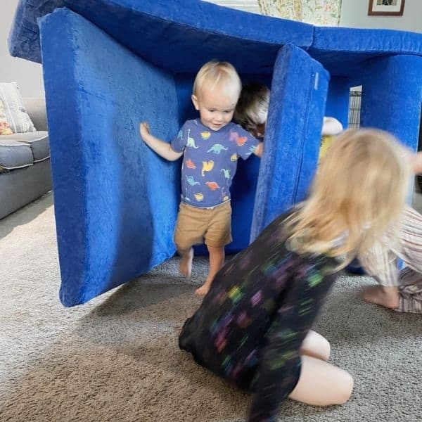 The Brentwood Home Play Couch is a great non-toxic Nugget alternative. Baby and kids playing in modular sofa play fort.