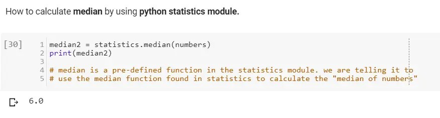 How to calculate median by using python statistics module.