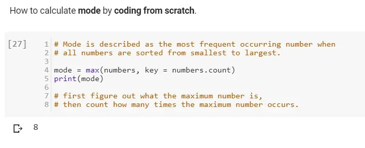 How to calculate mode in python by coding from scratch manually.