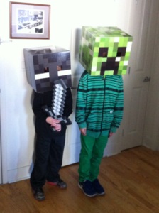 """Los bros Guigar, in a pre-trick-or-treat photo session at Grandma's house. Notice the 11yo's Method-Acting aherence to the """"no-arms-for-Creepers"""" aspect of his character."""