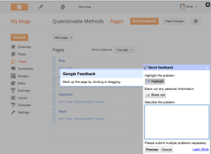 Google Blogger send feedback screen
