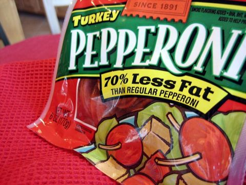 Bag with low fat pepperoni