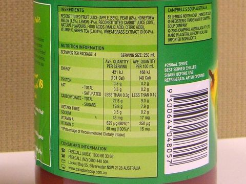 nutrition label on v8 plus cleanse