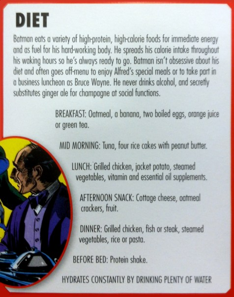 Ever wondered what all that Alfred was feeding Bruce all those years? Well, now ya know!