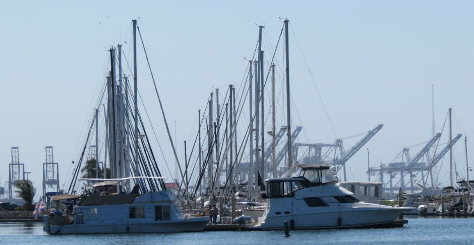 Emeryville marinas afford a panorama of the Oakland cranes.