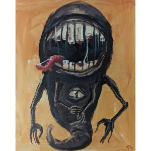 A painting of a demon with a huge mouth and an eye in its chest
