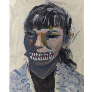 a painting of a demon woman with sharp teeth