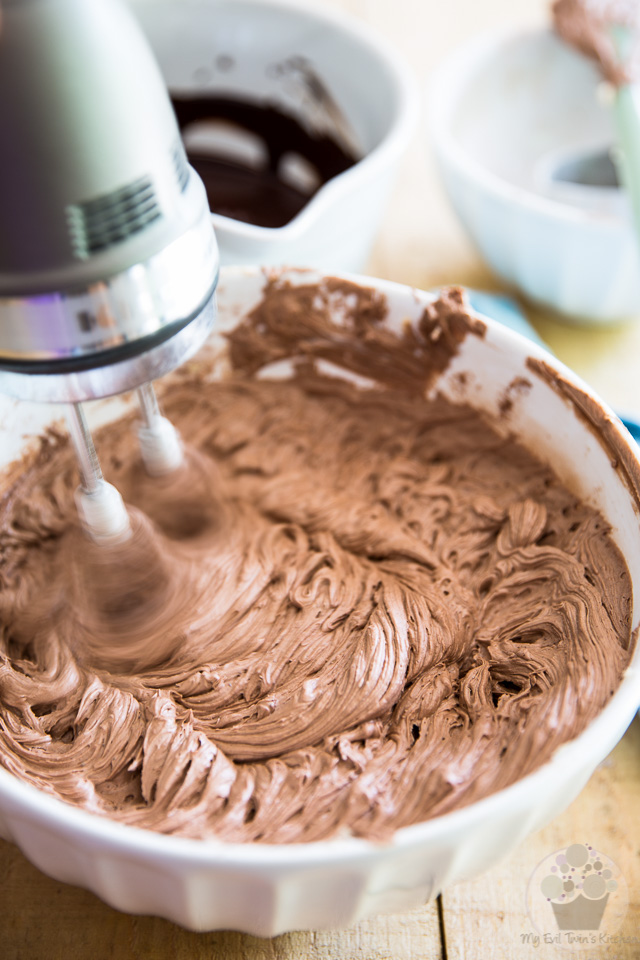 Beat until well combined - part of step by step instructions to make the most delicious Chocolate Fudge Frosting