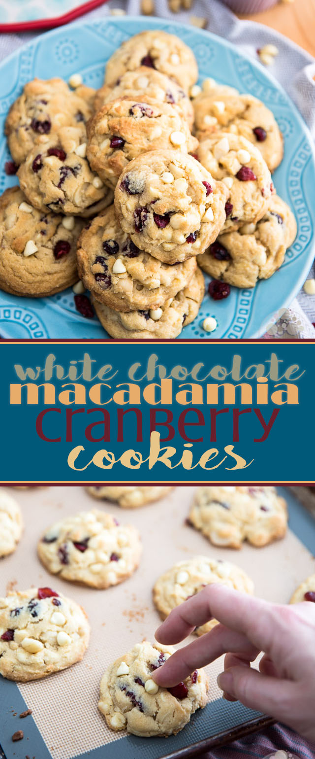Deliciously soft and chewy White Chocolate Macadamia Cranberry Cookies - so crazy good, you'll get totally addicted with the very first bite.