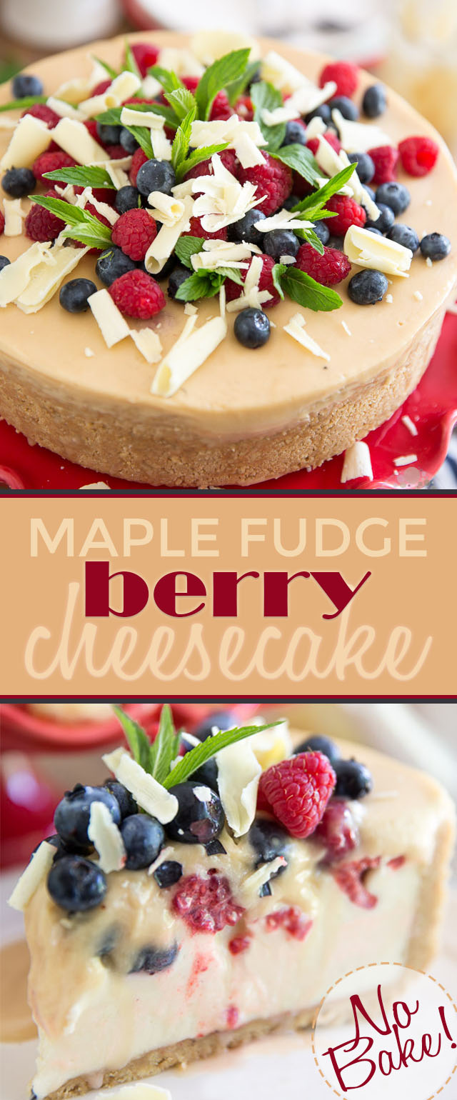 A tangy no-bake cheesecake nestled in a maple cookie crust, topped with fresh berries buried under a thick layer of creamy maple fudge. This No-Bake Maple Fudge Berry Cheesecake is totally worth sinning for!