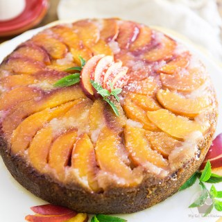 Upside Down Peach Cake with Apricot Beer Syrup