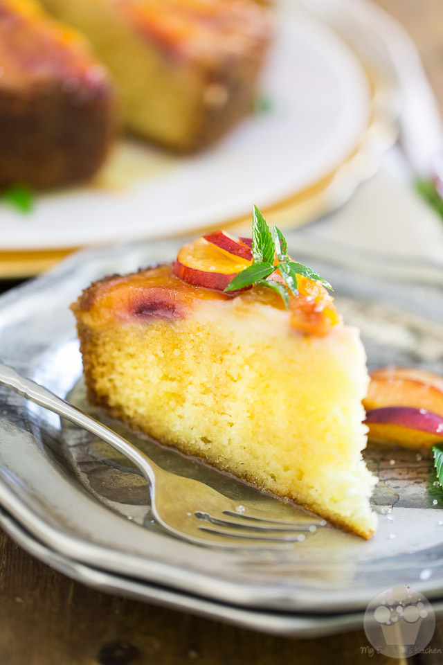 Upside Down Peach Cake with Apricot Beer Syrup by My Evil Twin's Kitchen | Recipe on eviltwin.kitchen