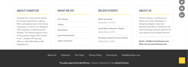 Non-Profit Organizations Theme charitize footer
