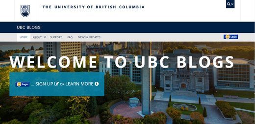 notable websites using wordpress: The University of British Columbia