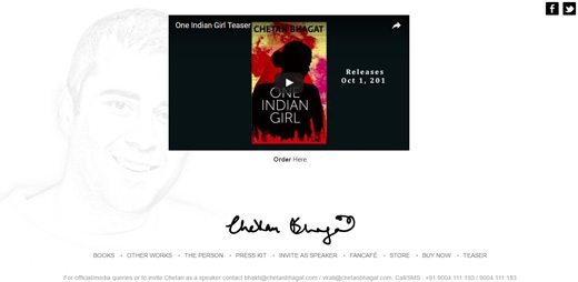 notable websites using wordpress: Chetan Bhagat